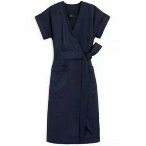 J. Crew | Navy Blue Satin Wrap Around Midi Dress